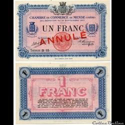 1 franc C.C.M. - Série B15 annulé