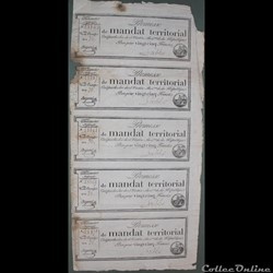Planche de 5 mandats territoriaux de 25 ...