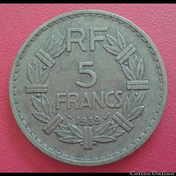 5 francs 1939 - BR.ALU