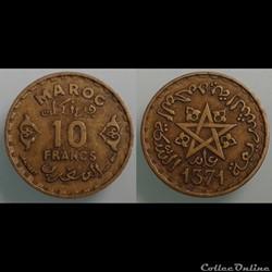 MAROC - 10 francs 1952