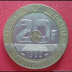 20 francs 1992 - V écarté - 5c