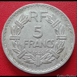 5 francs 1948 - ALU - 9 ouvert