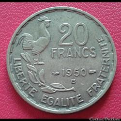 20 francs 1950 B - 3 faucilles