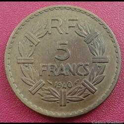 5 francs 1940 - BR.ALU