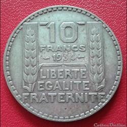 10 francs 1934 - 3 éloigné