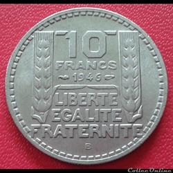 10 francs 1946 B - Grosse tête - rameaux...
