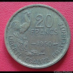 20 francs 1950 B - 4 faucilles
