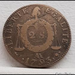 2 sols aux balances 1793 AA
