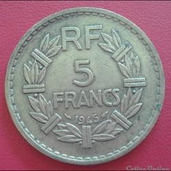 5 francs 1945 - BR.ALU