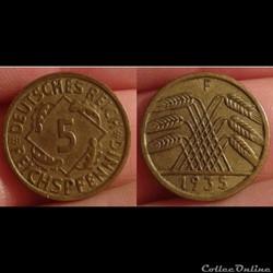 Allemagne - 5 pfennig 1935 F