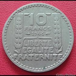 10 francs 1946 - Grosse tête - rameaux c...