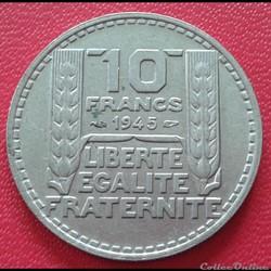 10 francs 1945 - Grosse tête - rameaux l...