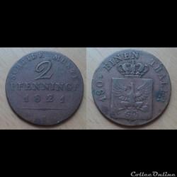 Allemagne - 2 pfenninge 1821 A