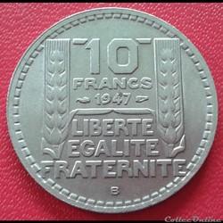 10 francs 1947 B - Grosse tête