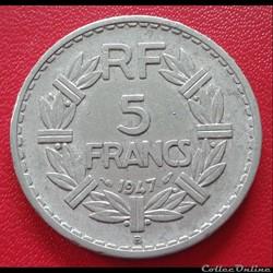 5 francs 1947 B - ALU - 9 ouvert