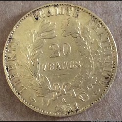 20 francs 1851 A (sans point)