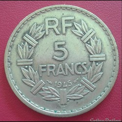 5 francs 1945 C - BR.ALU