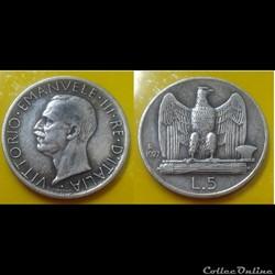 Italie - 5 lire 1927