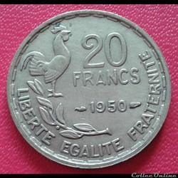 20 francs 1950 - 3 faucilles