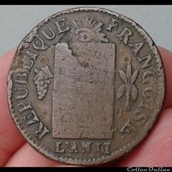 monnaie france moderne 1793 l 1 sol aux balances
