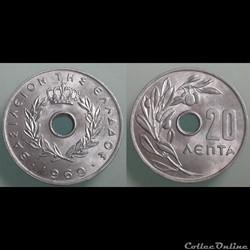GRECE - 20 lepta 1969