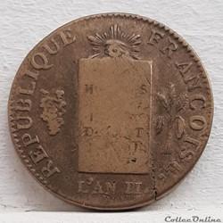 monnaie france moderne 2 sols aux balances 1793 aa
