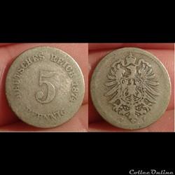 Allemagne - 5 pfennig 1874 F