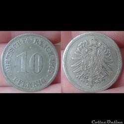 Allemagne - 10 pfennig 1875 A
