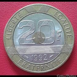20 francs 1992 - V serré - 4c
