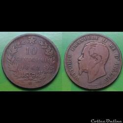 Italie - 10 centimes 1862 M