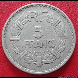 5 francs 1947 - ALU - 9 ouvert
