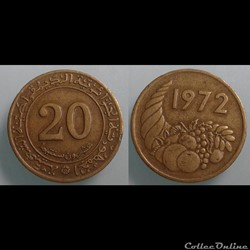 Algérie - 20 centimes 1972