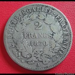 2 francs 1870 A - grand A