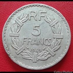 5 francs 1949 - ALU - 9 fermé