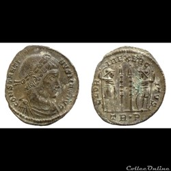 Constantin I - AE Follis réduit - GLORIA EXERCITVS - Trier - RIC.537