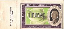 a0- Bon de solidarité 1 FRANC Pétain