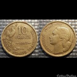 Le 10 francs Guiraud 1953 20mm 3g