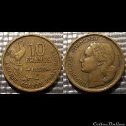 Le 10 francs Guiraud 1953 B 20mm 3g