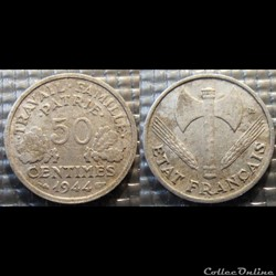 Gd 50 centimes Bazor 1944 18mm 0.7g faib...