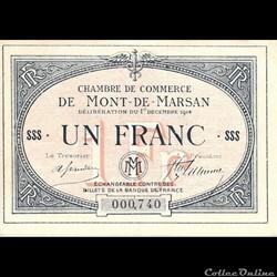 A2 1Fr. Chambre de Commerce de Mont de Marsan  Délibération du 1 décembre 1914
