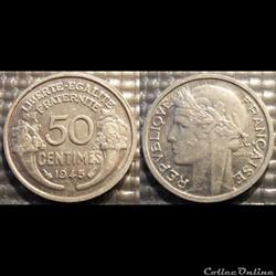 Ge 50 centimes Morlon 1945 18mm 0.7g