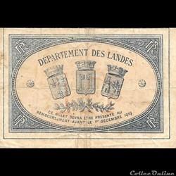 B3 1Fr Chambre de Commerce de Mont de Marsan délibération 1 decembre 1914 Emission 1916