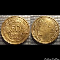 Gc 50 centimes Morlon 1938 18mm 2g