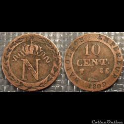 D-Napoléon I 10 Centimes Premier Empire ...