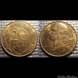 Ef 20 centimes Marianne 1976 23.5mm 4g