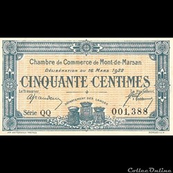 G11 50C. Chambre de Commerce de Mont de Marsan Délibération du 16 Mars 1922
