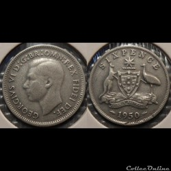 Australie 6 Pence 1950