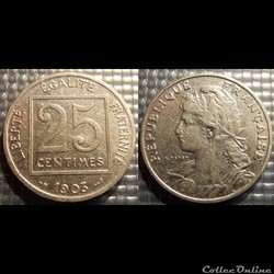 Fa 25 centimes Patey, carré 1903 24mm 7g