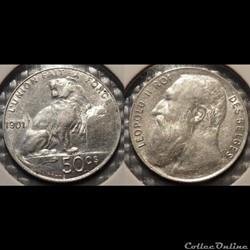Belgique 50 Centimes 1901 Des Belges