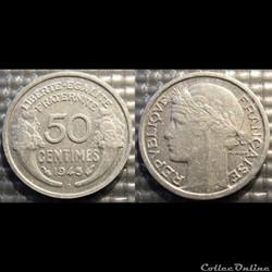 Ge 50 centimes Morlon 1945 B 18mm 0.7g